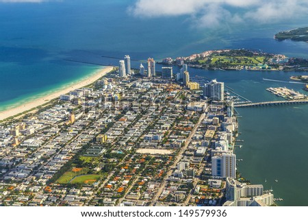 aerial of town and beach of Miami Beach