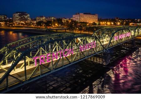 Aerial of Trenton Bridge Sunrise #1217869009
