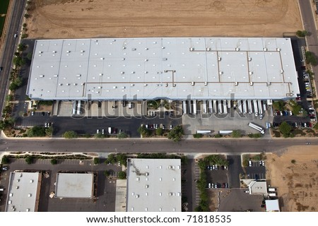 Aerial of Warehouse, distribution center