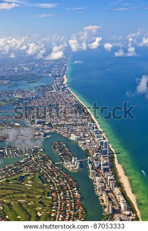 aerial oftown and beach of Miami