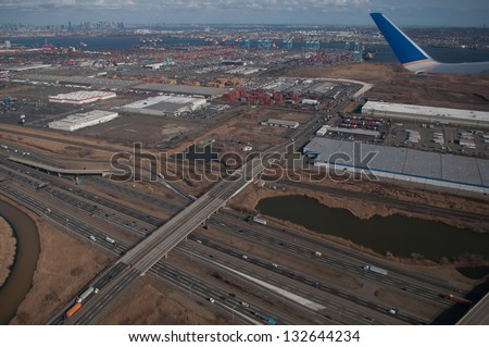 aerial over newark and new yourk