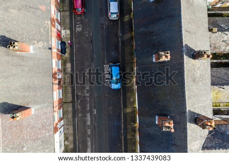 Aerial overhead photo of Oldfield Street in one of Stoke on Trents poorer areas, Terrace housing, poverty and urban decline