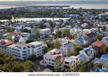 aerial overview of Reykjavik roofs