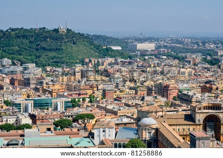 Aerial panorama above of houses rooftops in a Rome