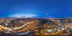 Aerial panorama cityscape of Kuala Lumpur,Malaysia(Bangsar). Drone shot. Full VR 360 degree.Night view/Late evening