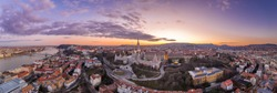 Aerial panorama drone shot of Fisherman's Bastion on Buda Hill in Budapest sunset time