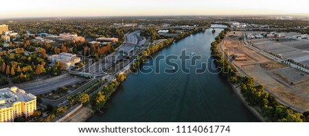 Aerial panorama is Sacramento and river #1114061774