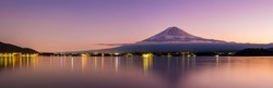 Aerial Panorama Landscape of Fuji Mountain. Iconic and Symbolic Mountain of Japan. Scenic Sunset Landscape of Fujisan at Evening Time, Kawaguchiko, Yamanashi, Japan.