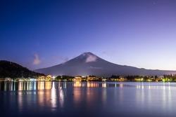 Aerial Panorama Landscape of Fuji Mountain. Iconic and Symbolic Mountain of Japan. Scenic Sunset Landscape of Fujisan at Evening Time, Kawaguchiko, Yamanashi, Japan.