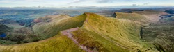 Aerial panorama of a mountain range (Pen-y-Fan, Brecon Beacons, Wales)
