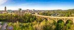 Aerial panorama of Allentown, Pennsylvania skyline and Albertus L. Meyers Bridge (aka Eighth Street Bridge) on late sunny afternoon . Allentown is Pennsylvania's third most populous city.