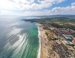 Aerial panorama of Beach at Kavatsite Region near Sozopol, Burgas Region, Bulgaria
