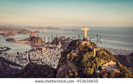 Aerial panorama of Botafogo Bay and Sugar Loaf Mountain at sunset, Rio De Janeiro, Brazil