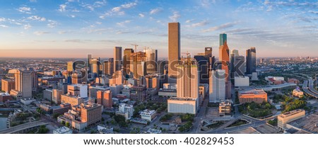 Aerial panorama of downtown Houston skyline as seen from the northeast side of town.  New building construction can be seen in the early morning light photo.