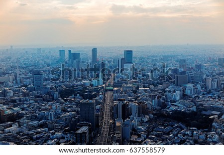 Aerial panorama of Downtown Tokyo at sunset, with view of high-rise towers clustering in Shibuya area and an arterial highway stretching among crowded buildings out to distant horizon in hazy dusk