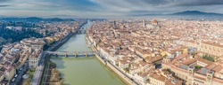 Aerial panorama of Florence at sunrise, Firenze, Tuscany, Italy, cathedral, river, drone pint view, mountains is on background
