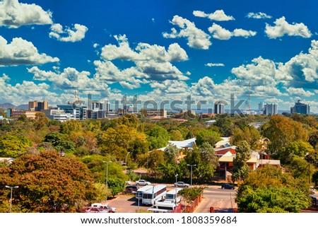 Aerial panorama of Gaborone city the capital of Botswana Stock foto ©