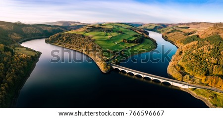 Aerial Panorama of Ladybower Reservoir, in the Peak District National Park.
