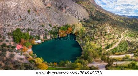 Aerial panorama of Lake Zaros, Crete island Greece. #784945573