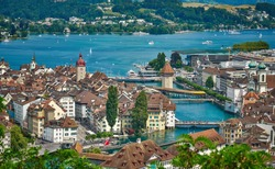 Aerial panorama of Luzern, Switzerland.. The city lies along the banks of Lake Lucerne and Reuss river.