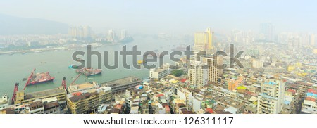 Aerial panorama of Macau in the sunshine morning