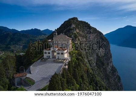 Aerial panorama of Montecastello. Catholic Church Eremo di Montecastello. Lake Garda, Italy. Aerial view of the church on the mountain. Top view of the Eremo di Montecastello church. Stok fotoğraf ©