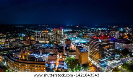 Aerial panorama of New Haven, Connecticut by night. New Haven is the second-largest city in Connecticut after Bridgeport Сток-фото ©