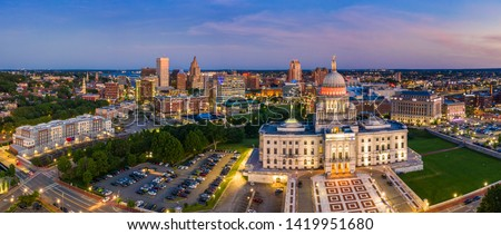 Aerial panorama of Providence skyline and Rhode Island capitol building at dusk. Providence is the capital city of the U.S. state of Rhode Island. Founded in 1636 is one of the oldest cities in USA. Stock fotó ©