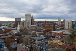 Aerial panorama of Providence skyline on a late afternoon. Providence is the capital city of the U.S. state of Rhode Island. Founded in 1636 is one of the oldest cities in USA.