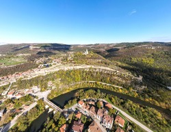Aerial Panorama of Ruins of The capital city of the Second Bulgarian Empire medieval stronghold Tsarevets, Veliko Tarnovo, Bulgaria