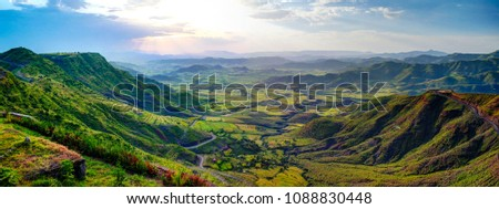 Aerial Panorama of Semien mountains and valley around Lalibela in Ethiopia