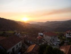 Aerial panorama of small idyllic valley mountain village town Gave near Peneda Geres National Park Melgaco Viana do Castelo, Alto Minho Norte Region Portugal Europe