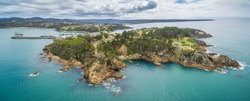 Aerial panorama of the Eden lookout, NSW, Australia
