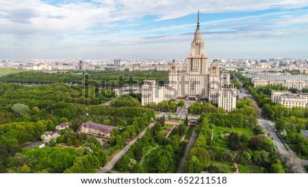 Aerial panorama of the Lomonosov Moscow State University main building. Sparrow Hills, Moscow, Russia. Aerial drone photo. Stock photo ©