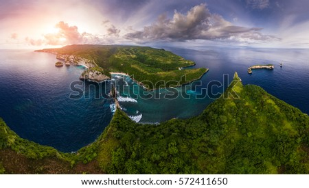 Aerial panorama of the rocky coastline of the island of Nusa Penida, Bali, Indonesia.