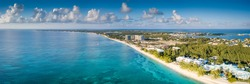 aerial panorama of the tropical paradise of the cayman islands in the caribbean sea