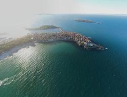 Aerial panorama of town of Sozopol, Burgas Region, Bulgaria