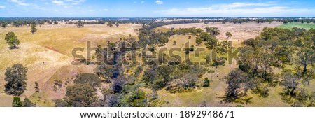 Aerial panorama of Wannon River and Australian countryside on hot summer day Stock photo ©