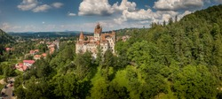 Aerial panorama view of medieval Dracula castle in Bran, Transylvania Romania
