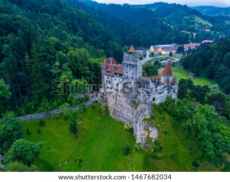 Aerial panorama view of the medieval Bran Castle, known for the myth of Dracula , Dracula Castle in Brasov, Transylvania. Romania. #1467682034