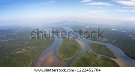 Aerial panorama view on estuaries and strait in Phang Nga province, Thailand