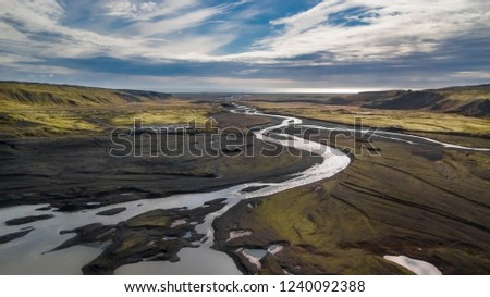 Aerial panoramic landscape view of a riverbed in Iceland