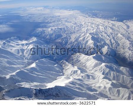 Aerial panoramic of Andes Cordillera .