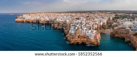 Aerial panoramic sight in Polignano a Mare, Bari Province, Apulia (Puglia), southern Italy. Сток-фото ©