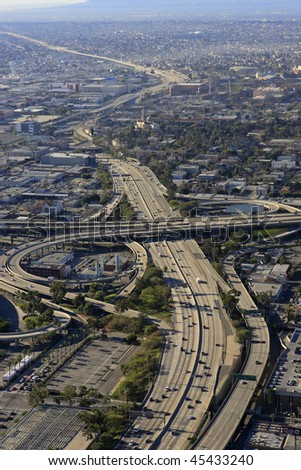 Aerial Panoramic Stitch: Downtown Los Angeles California USA