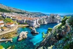 Aerial panoramic view at famous european travel destination, Dubrovnik cityscape on Adriatic Coast, Croatia. / Selective focus.