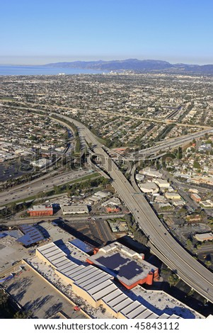 Aerial Panoramic View: Downtown Los Angeles California USA