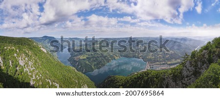 Aerial panoramic view  from viewpoint Banjska stena in National Park Tara, Serbia  with the view of Perucac dam and lake and river and canyon Drina Stock photo ©
