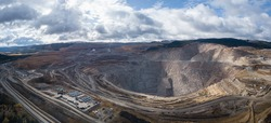 Aerial panoramic view of a copper mine in the interior of British Columbia, Canada.