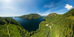 Aerial Panoramic View of Canadian Mountain Landscape during a sunny summer day. Taken near Powell River, Sunshine Coast, British Columbia, Canada.
